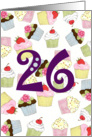 Cupcakes Galore 26th Birthday card