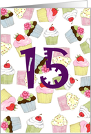 Cupcakes Galore 15th Birthday card