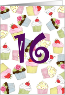 Cupcakes Galore 16th Birthday card