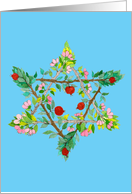 Passover Fruit & Flower Star of David card