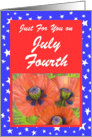 July 4th Birthday Red Poppies card