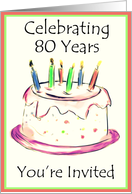 80th Birthday Party Invitation card
