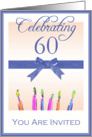 60th Birthday Party Invitation, Blue Ribbon & Candles card