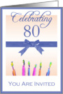 80th Birthday Party Invitation, Blue Ribbon & Candles card