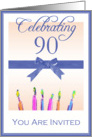 90th Birthday Party Invitation, Blue Ribbon & Candles card