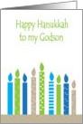 Happy Hanukkah Godson, Colorful Menorah Candles card