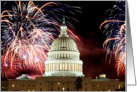 Happy 4th of July- Colorful Fireworks over Capitol Building card