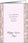 Happy Nurses Day,Female- Pink Damask Pattern card