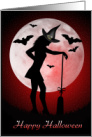 Happy Halloween,Husband- Slender witch in moonlight card