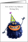 Kids Halloween Birthday Party Invitation, Smiling Monster with Party Hat card
