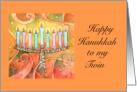 Happy Hanukkah To My Twin- Abstract Art with Menorah card