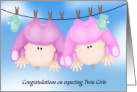 Congratulations on Expecting Twin Girls,Baby Girls Hanging Out card
