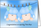 Congratulations on Expecting Twin Boys,Baby Boys Hanging Out card
