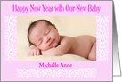 Happy New Year Baby Announcement Pink card