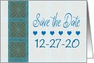 Save the Date, Wedding Blue Hearts, Year Specific card