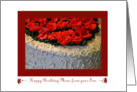 Happy Birthday Mom, from your Son, Red Roses on White Cake card