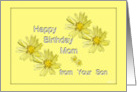 Happy Birthday Mom, from your Son yellow flower card