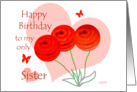 Happy Birthday to my only Sister three roses card