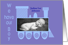 We Have our Boy Train Birth Announcement card