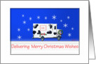 Delivering merry Christmas Wishes Milk Truck card