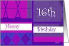 Argyle 16th Birthday card