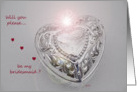 Silver Heart Bridesmaid card