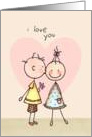 I love You With Kisses, Stick Figures Valentine&rsquo;s Day Card