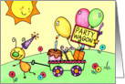 Kids Party Wagon Bugs - Birthday Invitation card