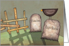 Prim Graveyard Halloween Invitation card