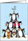 Stacked Penguins Christmas Tree Card