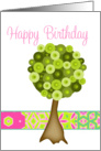 Happy Birthday Tree on a String card