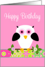 Happy Birthday Owl on a String card