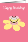 Happy Cartoon Bee on Flower Birthday card