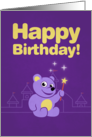 Purple Cartoon Teddy Bear Fairy Birthday card
