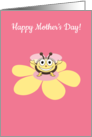 Happy Cartoon Bee on Flower Mother&rsquo;s Day for Mother card