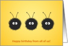 Three Dazzled Bugs birthday card