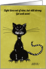 Ragged Black Cat Get Well card