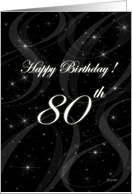 Happy 80th Birthday - elegant stars card