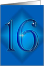 Happy 16th Birthday - Blue diamond card