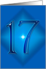 Happy 17th Birthday - Blue diamond card