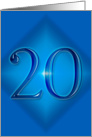 Happy 20th Birthday - Blue diamond card
