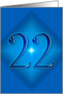 Happy 22nd Birthday - Blue diamond card