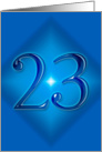 Happy 23rd Birthday - Blue diamond card