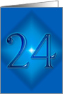 Happy 24th Birthday - Blue diamond card