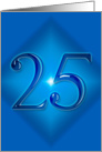 Happy 25th Birthday - Blue diamond card