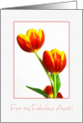 Red and yellow tulips - Happy Birthday Aunt card