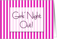 Pink and white candystripes - girls' night out invitation card