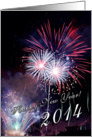 Happy New Year 2014 - red and white fireworks card
