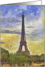 Eiffel Tower, Impressionist painting, Happy Birthday in French card