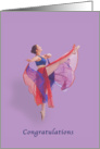 Congratulations, Dance Recital, Ballerina in Red and Blue card